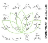 yoga poses icon set in thin... | Shutterstock .eps vector #367368938