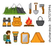 camping and hiking icon set.... | Shutterstock .eps vector #367373996