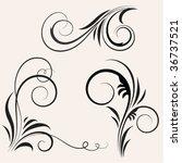 black vintage floral elements | Shutterstock .eps vector #36737521