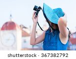 attractive woman tourist in the ... | Shutterstock . vector #367382792