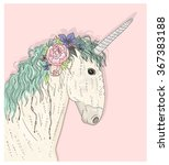cute unicorn with flowers... | Shutterstock .eps vector #367383188