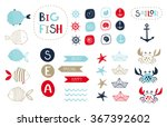 big set of cute marine elements ... | Shutterstock .eps vector #367392602