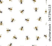 bee seamless pattern. black and ... | Shutterstock .eps vector #367396115