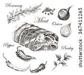 vector steak meat hand drawing... | Shutterstock .eps vector #367411265