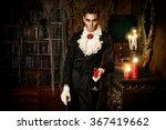 Handsome Vampire Man Wearing...