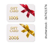 2 gifts card with bows with... | Shutterstock .eps vector #367421576