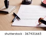 notary pen lying on testament.... | Shutterstock . vector #367431665