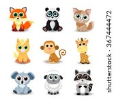 collection of cute animals... | Shutterstock .eps vector #367444472
