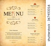 restaurant menu design. vector... | Shutterstock .eps vector #367453316