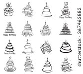 monochrome set of sixteen cakes | Shutterstock .eps vector #367463882