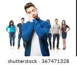 young man sleeping gesture | Shutterstock . vector #367471328