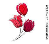 Stylized Red Tulips Isolated On ...