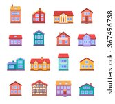 house icons set isolated on... | Shutterstock .eps vector #367496738