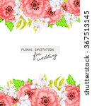 invitation with floral... | Shutterstock . vector #367513145