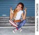 pretty young blonde girl night... | Shutterstock . vector #367536038