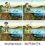 Four Scenes Of Boy Fishing In ...
