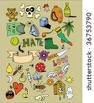 set of funny doodles | Shutterstock .eps vector #36753790