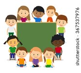 kids around chalkboard. kids... | Shutterstock .eps vector #367537976
