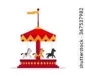 kids carnival carousel in flat... | Shutterstock .eps vector #367537982