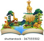 book of giraffes living by the... | Shutterstock .eps vector #367555502