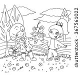 children playing in nature with ... | Shutterstock .eps vector #367561022