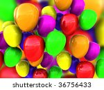 3d illustration of colorful balloons background - stock photo