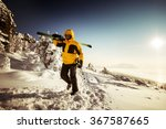 skier goes uphill to the... | Shutterstock . vector #367587665