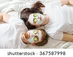 couple getting homemade facial... | Shutterstock . vector #367587998