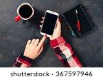 female hands using white mobile ... | Shutterstock . vector #367597946