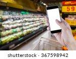 hand holding smart phone on... | Shutterstock . vector #367598942