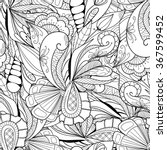 black and white doodle floral... | Shutterstock .eps vector #367599452