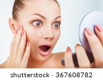 a young woman in a mirror... | Shutterstock . vector #367608782