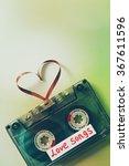 retro audio cassette with tape... | Shutterstock . vector #367611596