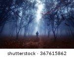 Fog Forestman Walking Through ...