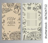 ink hand drawn pizza and pasta...   Shutterstock .eps vector #367624712