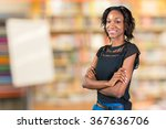 happy young african woman... | Shutterstock . vector #367636706
