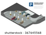 underground parking with cars....   Shutterstock .eps vector #367645568