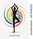 yoga pose designed using... | Shutterstock .eps vector #367646222