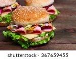 burger sandwich with sausage ... | Shutterstock . vector #367659455