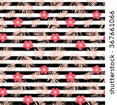 seamless pattern with  hibiscus ... | Shutterstock .eps vector #367661066