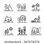 vector black flat nature icons on white | Shutterstock vector #367676576