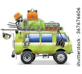 vector travel car with camping... | Shutterstock .eps vector #367676606
