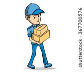 delivery service  deliveryman.... | Shutterstock .eps vector #367700576
