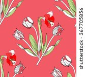 seamless pattern with amaryllis ... | Shutterstock .eps vector #367705856
