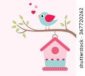 Bird House And Bird On A Branch
