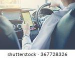 hand using phone sending a text ... | Shutterstock . vector #367728326