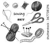 sewing set. thimble  needle ... | Shutterstock .eps vector #367738196