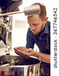 man looking at roasted coffee... | Shutterstock . vector #367746542