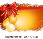Gold Christmas background / with balls and bow - stock vector