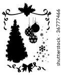 christmas silhouettes set / vector / tree, holly, snowflakes, balls, ribbon - stock vector